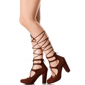 Dark Brown Lace up Chunky Heel Pumps Strappy Heels Gladiator Shoes