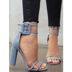 Denim Block Heels Sandals Clear Sandales à bout ouvert et bride cheville