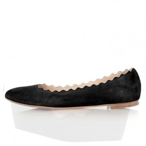 On Sale Women's Black Comfortable Flats Round Toe Suede Shoes