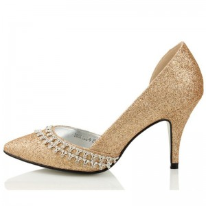 Gold D'orsay Pumps Chaussures Glitter Stilettos Escarpins À Bout Pointu