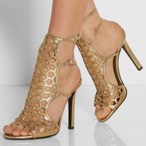Gold Heels Hollow out Sandals Open Toe Stiletto Heels Slingback Shoes