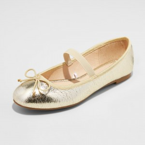 Gold Mary Jane Shoes Round Toe Flats Elastic Ballet Shoes