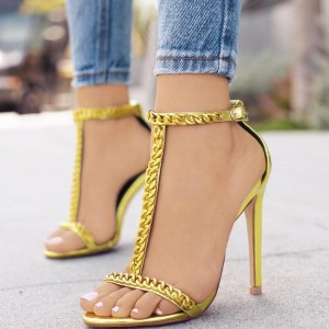 Gold Metallic Heels Open Toe Stiletto Heel T Strap Sandals with Chain