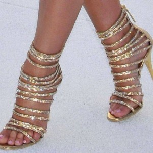 Gold Evening Shoes Rhinestone Stiletto Heel Strappy Sandals for Party