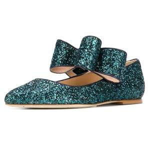 Glitter Green Bow Pointy Toe Confortables Flats