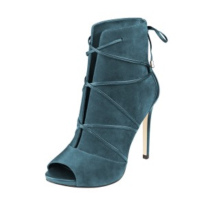 Teal Shoes Strappy Peep Toe Booties Suede Stiletto Ankle Boots