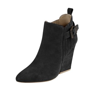 Women's Suede Black Almond Toe Buckle Chunky Heel Boots