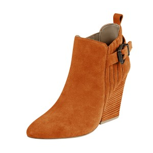 Women's Suede Orange Almond Toe Buckle Chunky Heel Boots