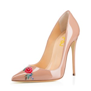 Nude Pointy Toe Floral Office Talons pompes femmes