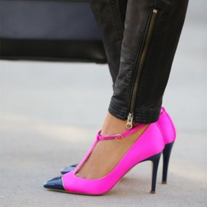 Escarpins à talons T Hot Pink et Navy