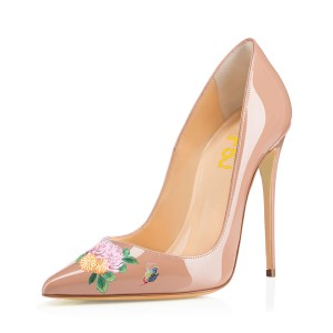 Nude Pointy Toe Butterfly Floral Office Talons Pompes femmes