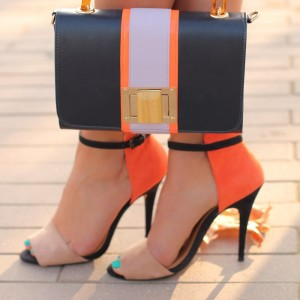 Khaki and Orange Ankle Strap Sandals Peep Toe Suede High Heels