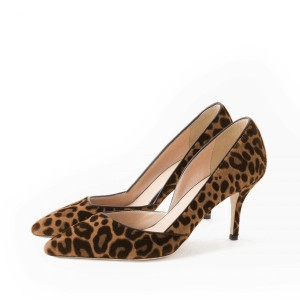 Leopard Print Heels Pointy Toe Stilettos Suede D'orsay Pumps