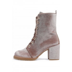 Blush Velvet Lace up Boots Bottines à talons épais