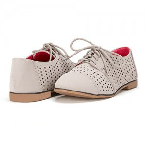 Beige Hollow out Oxfords femmes confortable Vintage Lace Flats