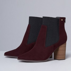 Bottines Chelsea bordeaux Talons Chunky Bottillons à bout pointu