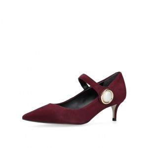 Maroon Mary Jane Pumps Pointy Toe Talons Vintage Chaussures