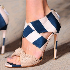 Blue and White Stripes Stiletto Heels Open Toe Strappy Sandals