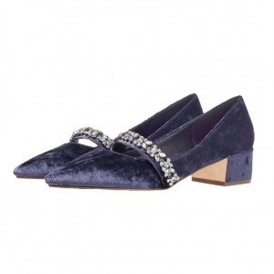 Navy Velvet Heels Vintage Mary Jane Pumps with Rhinestones
