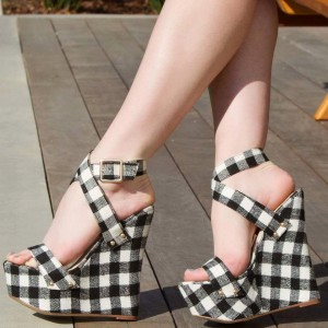 Black and White Plaid Heeled Wedges Open Toe Crisscross Strap Sandals