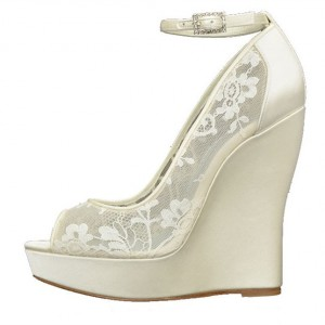 Women's White Ankle Strap Wedge Heels Peep Toe  Pumps