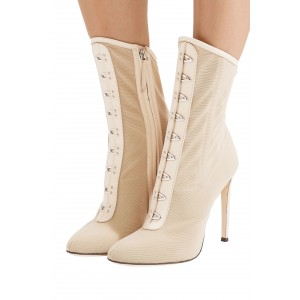 Nude Nets Stiletto Boots Lace Up Ankle Boots