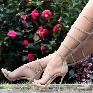 Nude Patent Leather Rhinestones Gladiator Heels Sandals