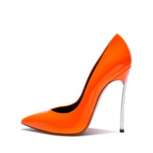FSJ Shoes - Escarpins orange à talons aiguilles superbes - Escarpins en cuir verni à bouts pointus