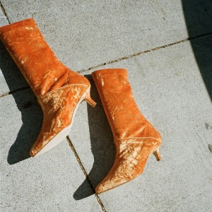 Bottes à talons en velours orange, bottines à la mode, taille US 3-15