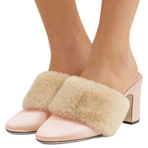 Talons Fourrure Rose Bout Rond Bout Talon Chunky Tendance Mules Taille US 3-15