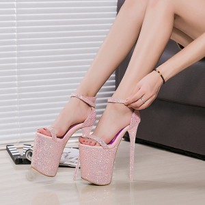 Pink Glitter Shoes Super Stiletto Heels Stripper Heels Sandals