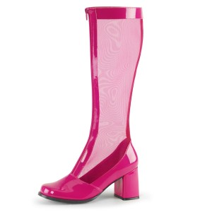 Pink Patent Leather Nets Block Heel Knee Boots