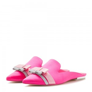 Mules Loafer plates à noeud en satin rose