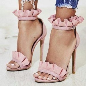 Pink Suede Ankle Strap Sandals Open Toe Stiletto Heel Ruffle Sandals