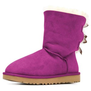 Purple Suede Flat Winter Boots with Bow