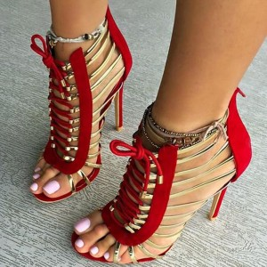 Red and Gold Gladiator Sandals Open Toe Lace up Heels