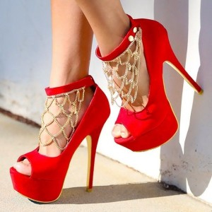 Women's Red Peep Toe Heels Gold Chains Platform Ankle Strap Heels