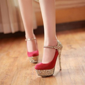 Red and Gold Glitter Bridal Heels Platform Elegant Mary Jane Pumps