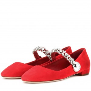 Strass Plat Rouge Mary Jane Chaussures