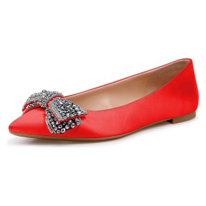 Strass Satin Rouge Pointy Toe Confortable Flats