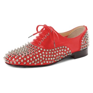 Red Studs Shoes Lace Up Oxfords