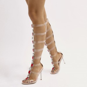 Rhinestone Knee-high Gladiator Heels PVC Clear Sandals