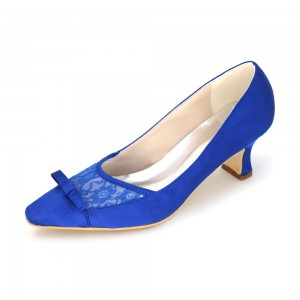 Royal Blue Bow Heels - Escarpins à talon carré et bout carré