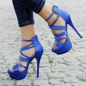 Royal Blue Heels Strappy Stilettos Platform Sandals