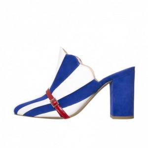 Royal Blue and White Stripes Mule Heels - talons chunky fermés