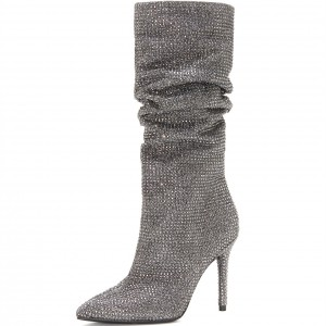 Bottes Slouch argentées bout pointu Strass Hotfix Stiletto Booties