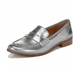 Silver Slip-on Flat Dressy Penny Loafers Chaussures de loisirs pour femmes
