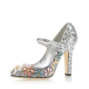 Paillettes argentées bout rond Chunky Talons strass Mary Jane Escarpins