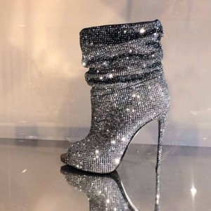 Strass argenté Hotfix Bottes Slouch Peep Toe Booties Stiletto