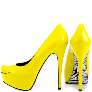 Women's Yellow Platform Heels Floral Print Almond Toe Stiletto Heel Pumps